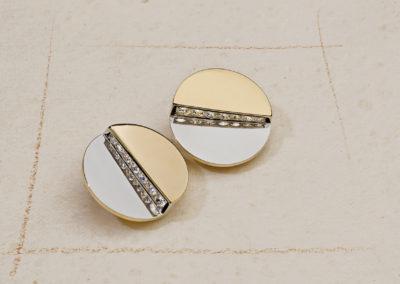 Boucles d'oreilles époque moderniste or, platine et diamants