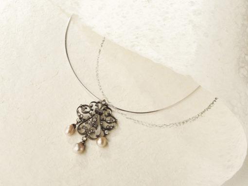 Élément de parure époque fin XIXe siècle or, argent, perles et diamants